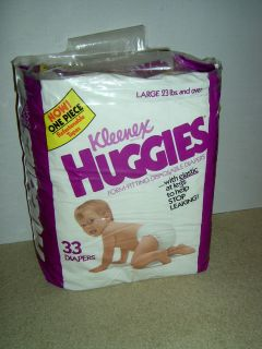 Kleenex Huggies 1982 NEW in Package 33 Disposable Diapers Size Large
