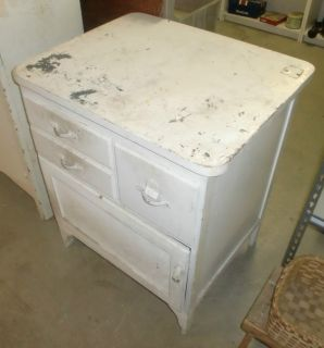 Antique Shabby Paint Kitchen Island Work Station Cabinet Cupboard