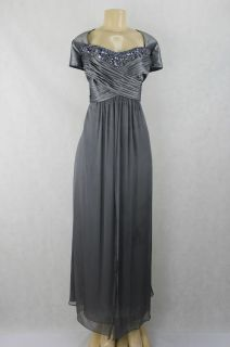 KM Collections women dress full length formal gown platinum silver