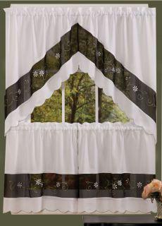Complete Kitchen Curtain Set 24 Window Curtain Black Wht