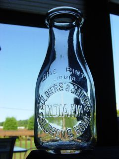 SOLDIER SAILOR CHILDRENS HOME Knightstown INDIANA dairy milk bottle