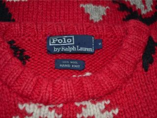 Ralph Lauren Polo Hand Knit Red Indian Blanket Wool Sweater s Small
