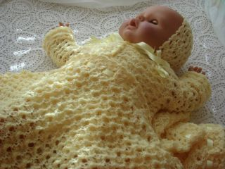 Knitted Baby Afghan Sweater Hat and Booties Set Lemonade Baby