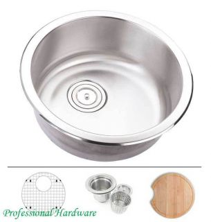 Gauge Round Shape Undermount Stainless Steel Kitchen Prep Sink