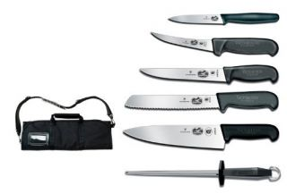 Forschner Fibrox 7 PC Cutlery Roll Knife Set Brand New Cheap