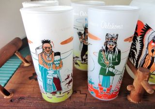 KNOX OIL ACEE BLUE EAGLE OKLAHOMA NATIVE INDIAN TRIBES TUMBLERS SET