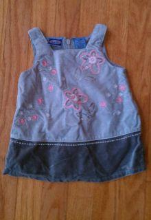 Girls Koala Kids Olive Green Pink Floral Print Velvet Jumper Dress 3 6