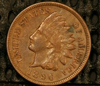1896 INDIAN CENT, FULL SHARP LIBERTY, PARTIAL DIAMONDS, NATURAL BROWN