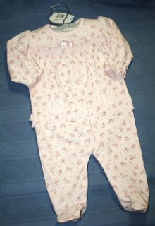 KOALA BABY BOUTIQUE GIRLS PINK PEACH FLOWERS SLEEPER PAJAMAS HANGER