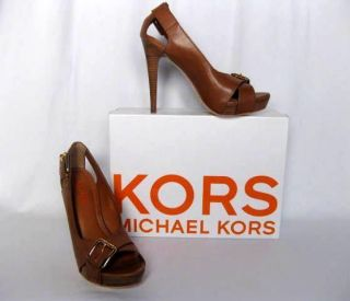KORS MICHAEL KORS { Whiskey/Brown LEATHER PORTLAND SHOE HEEL w/GOLD