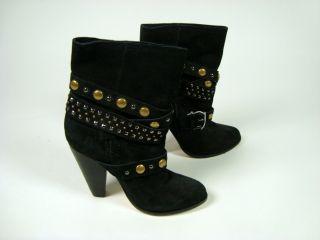 Kourtney Kardashian Chinese Laundry Black Suede Studded Ankle Boots 6