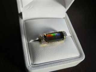 Korite Faceted AA Ammolite Diamond 18ct Y Gold Column Ring Size L 1 2