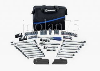 Kobalt 110 Piece 3 8 1 4 Ratchet Socket Wrench Tool Set Kit Bag SAE