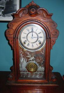 Kroeber Mantle Clock Excellent Case Glass Brass Needs Key Pendulum