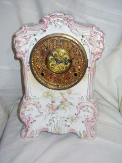 Rare Porcelain China Clock #19 Kroeber Mantel Shelf 1898 99 Hand