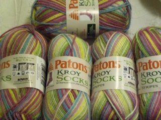 Kroy Yarn Lot 5 Skeins Patons Kroy Socks Stripes Sweet Stripes New