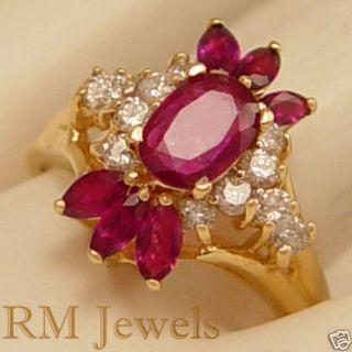 So Divine Vintage Ruby Diamond 14kt Gold Estate Ring
