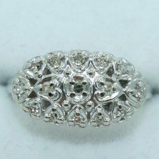 Kohinoor 14K White Gold Vintage Design Multi Heart DIAMOND Shield Ring