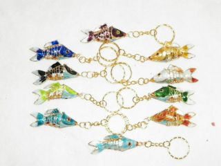 New Cloisonne Gold Koi Fish Pendent Cell Charm Key Chain Ring 10