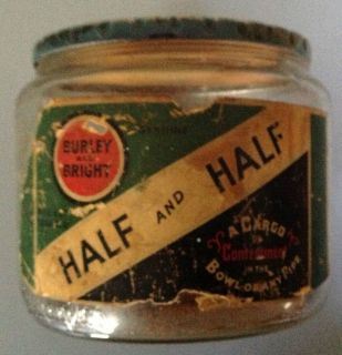 Half and Half Vintage Glass Tobacco Jar with Lid