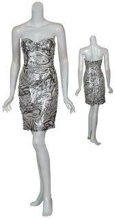 Kurt Thomas Metallic Zebra Print Silk Party Dress 4 New
