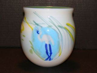 LG Signed Penland 1976 Flamingo Studio Art Glass Bowl