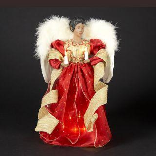 Kurt s Adler Black Angel w Feather Wings Christmas Figurine Gold Red
