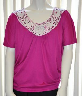 Womens Maternity Shirt Top Kristin Nicole Size Large L Fuschia Pink