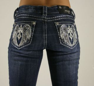 Grace in La Angelic Cross Blue Denim Jeans