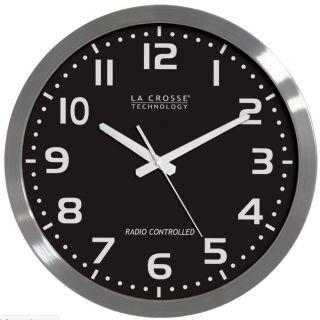 La Crosse WT 3161BK 16 Atomic Analog Wall Clock w Stainless Steel Case