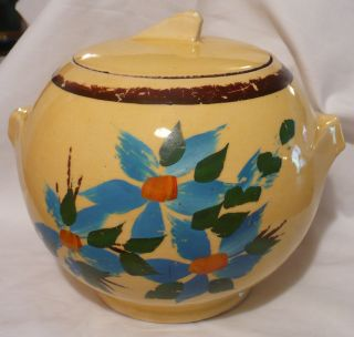 Vtg Deco Ball Ransburg Yellow Pottery Floral Cookie Jar