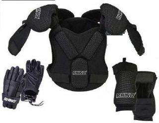 Lacrosse Lax Player Chest Shoulder Arm Pad Glove Set L