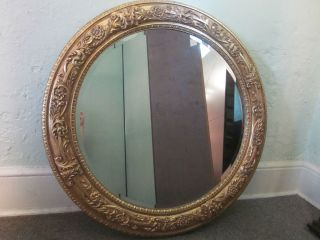 Labarge Large Round Gilt Italian Beveled Mirror