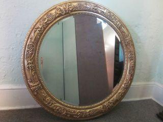 Labarge Large Round Gilt Italian Beveled Mirror