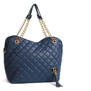 New Faux Leather Womens Ladies Shoulder Tote Handbags Blue Color 7433
