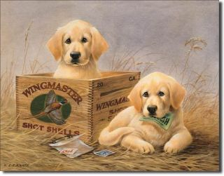 Wingmasters Shells Labrador Puppy Hunting Tin Sign