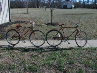 Matching Antique Huffy Sea Trails 3 Speed Bicycles Mens and Womens