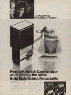 1969 Lady Schick Caprice Razor Joe Namath Vintage Ad