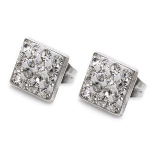 Crystal Square Stainless Steel Stud Hoop Ladies Earrings E162