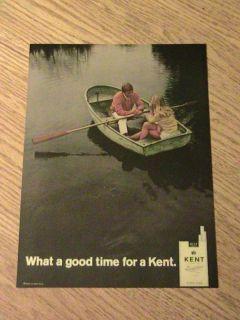 1969 Kent Cigarette Advertisement Boat Man Lady Ad Lake