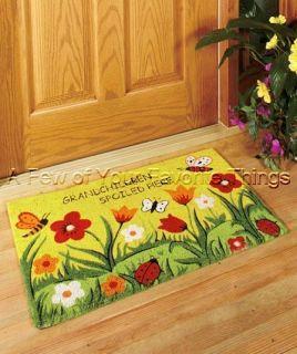 DOORMAT MAT FRONT DOOR RUG FLOWERS LADYBUG GRANDCHILDREN SPOILED HERE
