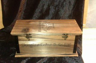 Stunning Douglas Laings Old Rare Lined Wooden Whisky Casket Box Clasps