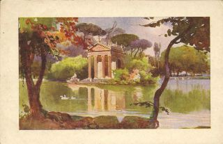 Italy Watercolour Card Roma Villa Borghese IL Laghetto