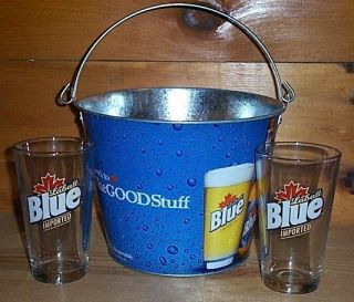 Labatt Blue 2 Beer Pint Glasses Metal Ice Bucket Set New
