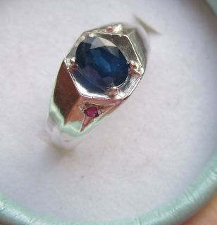Mens Sapphire and Ruby Fine Handsome Sterling Silver Ring