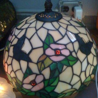 Vintage Stained Glass Lamp Shade Butterflys and Flowers
