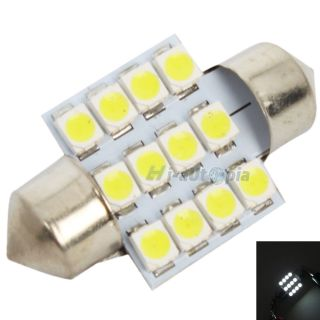 2X 31mm 12 LED SMD Festoon Dome Light Lamp Car Bulbs White 3021 3022
