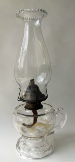 EAPG Finger Oil Lamp with Hurricane Shade Star Pattern