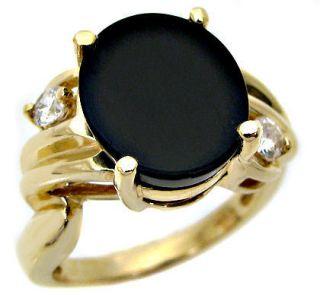 Black Onyx Diamond Ladies 14kt Yellow Gold Ring