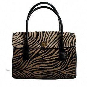 LAMBERTSON Truex Camel Color Black Pony Hair Satchel Zebra Print